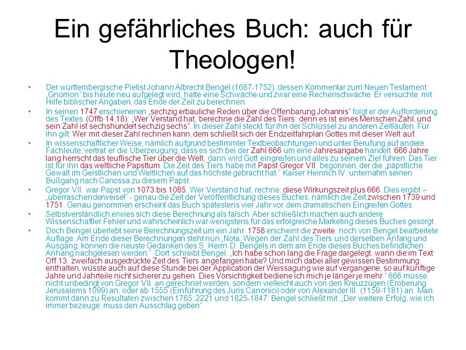 """Ein gefährliches Buch: auch für Theologen! Der württembergische Pietist Johann Albrecht Bengel (1687-1752), dessen Kommentar zum Neuen Testament """"Gnom"""