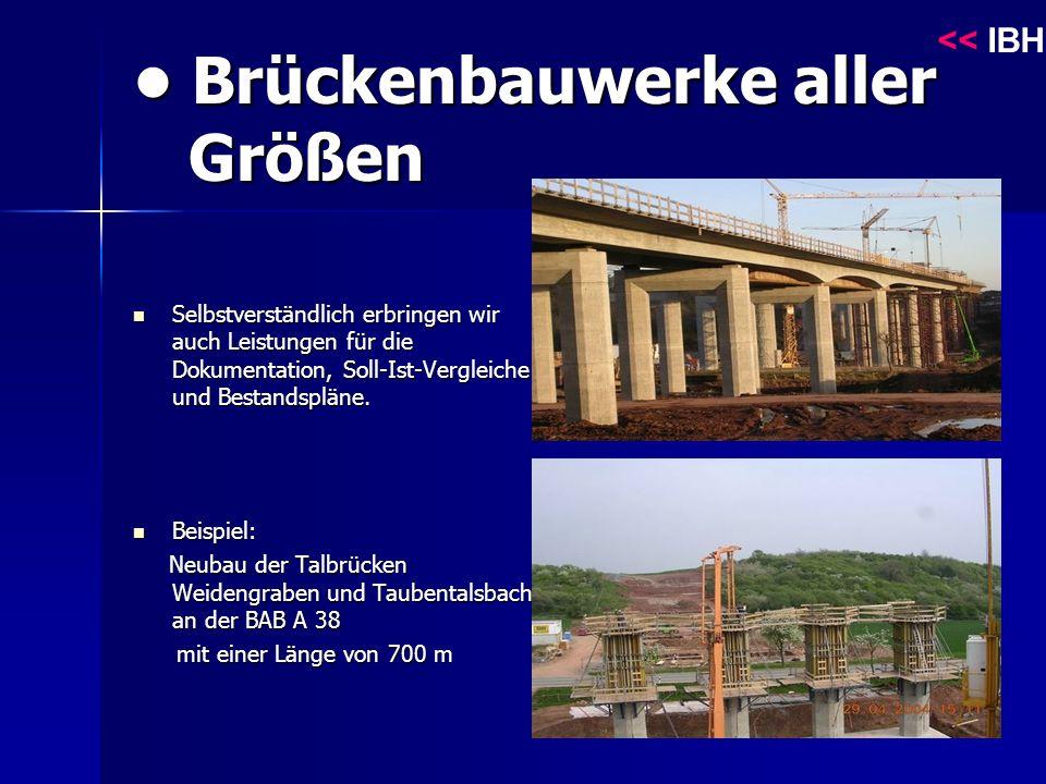 Brückenbauwerke aller Größen Brückenbauwerke aller Größen Selbstverständlich erbringen wir auch Leistungen für die Dokumentation, Soll-Ist-Vergleiche und Bestandspläne.