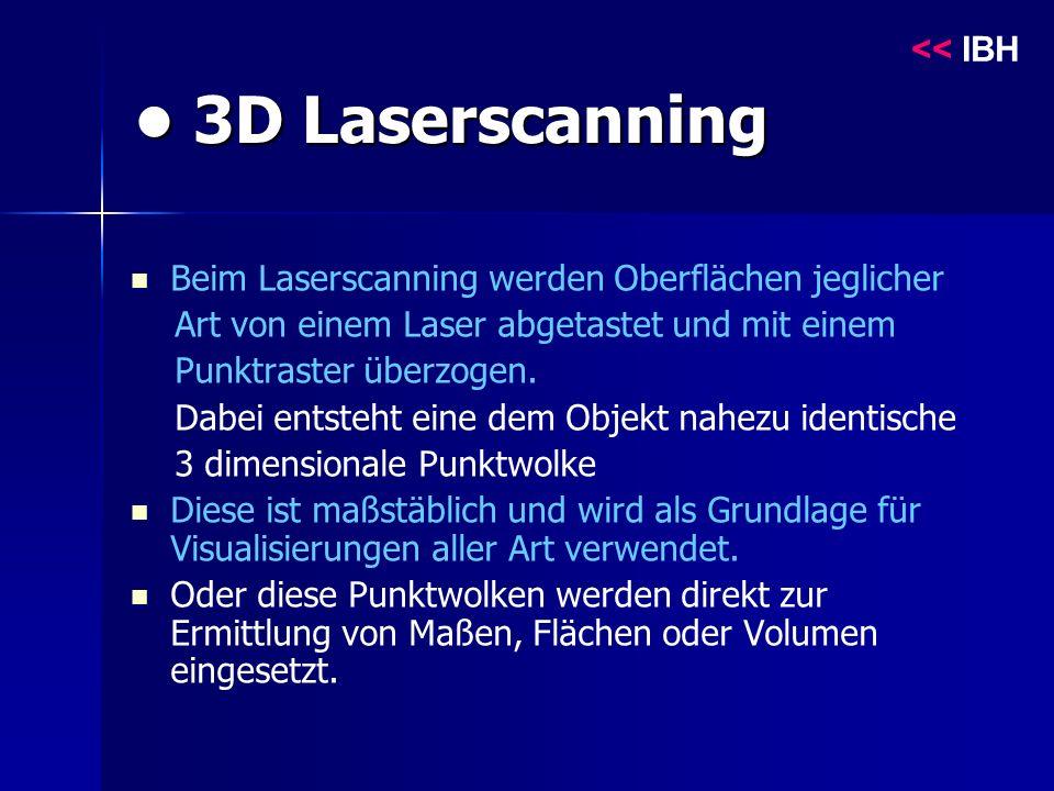 3D Laserscanning 3D Laserscanning Beim Laserscanning werden Oberflächen jeglicher Art von einem Laser abgetastet und mit einem Punktraster überzogen.