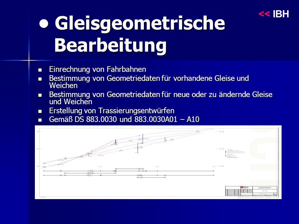 Gleisgeometrische Bearbeitung Gleisgeometrische Bearbeitung Einrechnung von Fahrbahnen Einrechnung von Fahrbahnen Bestimmung von Geometriedaten für vorhandene Gleise und Weichen Bestimmung von Geometriedaten für vorhandene Gleise und Weichen Bestimmung von Geometriedaten für neue oder zu ändernde Gleise und Weichen Bestimmung von Geometriedaten für neue oder zu ändernde Gleise und Weichen Erstellung von Trassierungsentwürfen Erstellung von Trassierungsentwürfen Gemäß DS 883.0030 und 883.0030A01 – A10 Gemäß DS 883.0030 und 883.0030A01 – A10 << IBH