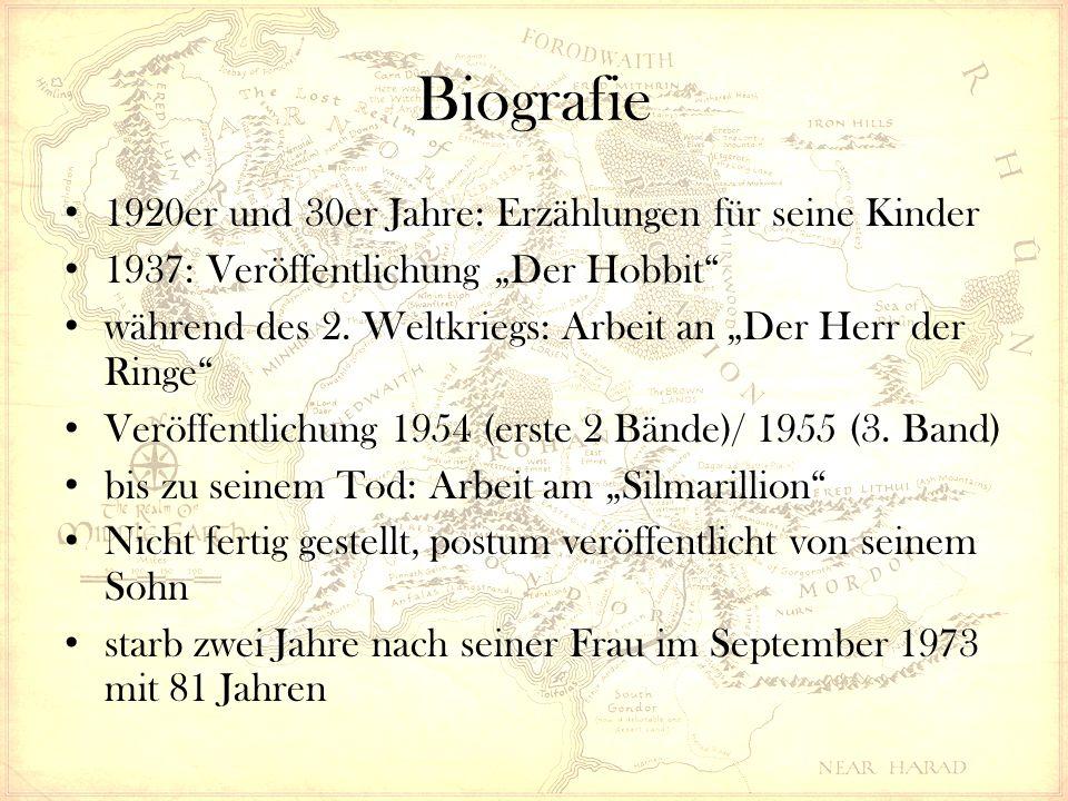 """Biografie 1920er und 30er Jahre: Erzählungen für seine Kinder 1937: Veröffentlichung """"Der Hobbit"""" während des 2. Weltkriegs: Arbeit an """"Der Herr der R"""