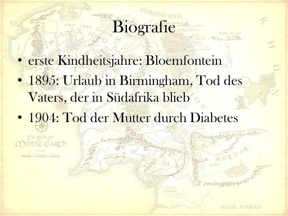 Biografie erste Kindheitsjahre: Bloemfontein 1895: Urlaub in Birmingham, Tod des Vaters, der in Südafrika blieb 1904: Tod der Mutter durch Diabetes