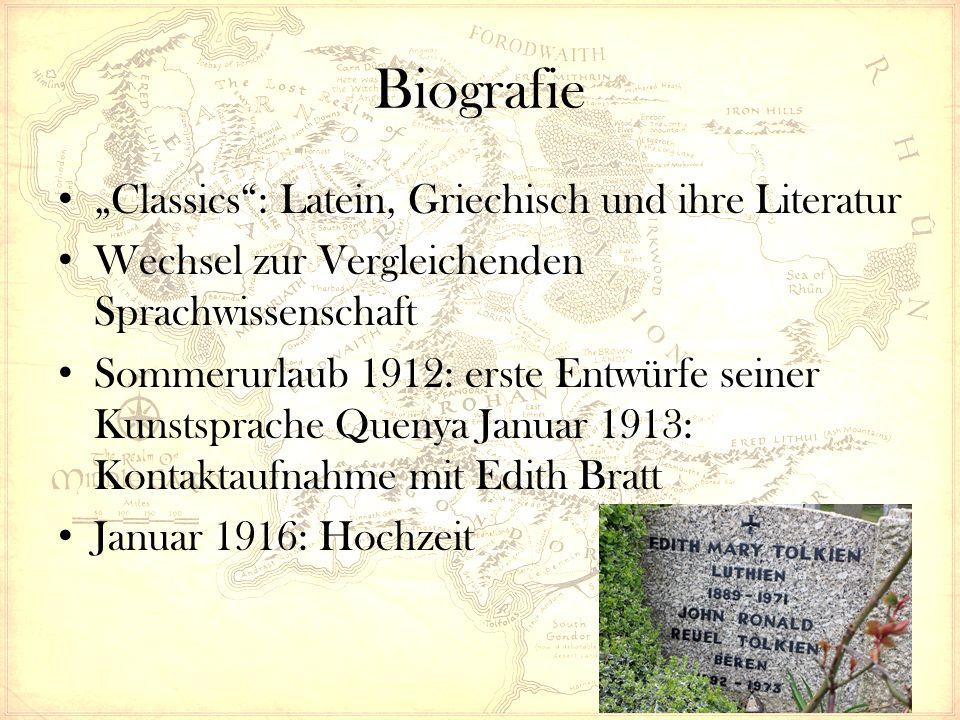 """Biografie """"Classics"""": Latein, Griechisch und ihre Literatur Wechsel zur Vergleichenden Sprachwissenschaft Sommerurlaub 1912: erste Entwürfe seiner Kun"""