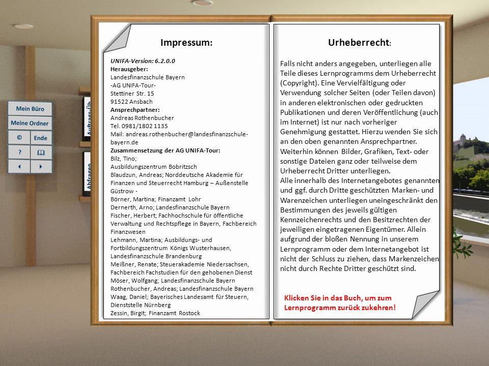 Glossar Inhaltsverzeichnis: Abbrechen4 Ablegen4 Abschließen4 ACUSTIG4 Adressbücher4 arbeitsbegleitende Funktionen4 Auskunft4 Aussteuerungsmerker5 authentifizierte Erklärungen5 Baumstrukur5 Bearbeitungsfenster5 Bescheid5 Bescheidauskunft5 Checkbox5 Dauertatbestände5 Echtrechentermin5 eAkte:5 eDaten6 Elektronischer Geschäftsverteilungsplan6 Elektronische Steuererklärung (EloSt)6 ELSTER6 Enter6 Erhebung6 Erhebungsspeicher6 Erklärungseingang6 eTIN6 F1 Taste7 Fachanwendungen7 Farblehre7 FEIN Stammdaten7 Festsetzung7 Festsetzungsmanager7 Festsetzungsnahe Daten (fnD)7 FS-Manager7 GelbGelb7 Globalabtretung8 Grau8 Grün8 Grundinformationsdienst8 Grundkennbuchstabe8 Historie8 ID-Merkmal8 Intro8 komprimierte Erklärung8 Kontext-bezogene Hilfe8 MISTRAL8 MÜSt8 MÜSt-Einzelfall9 MÜSt Kernbereich9 MÜSt-Übersichten9 OK9 Plausibiltätsprüfung9 Probeberechnung9 Prüfbahn9 Prüf- und Hinweisfälle9 Registerkarte9 Return9 Risikomanagement9 Rot9 Speicherübersicht10 Speichermanager10 Steuernummernliste10 Transfer10 Umsetzen10 UNIcard10 UNIFA10 UNIFAnt10 UNIFA-Rahmen10 Unterfallart10 Vorverarbeitung11 Weiß11 Zeichnungsrechtsvorbehalt11 Zustand11 Zusatzkennbuchstaben:11 Zwischenspeichern11 Zurück zum Lernprogramm Glossar Abbrechen Schließt das Fenster und verwirft alle eingegebenen Daten seit der letzten Speicherung.