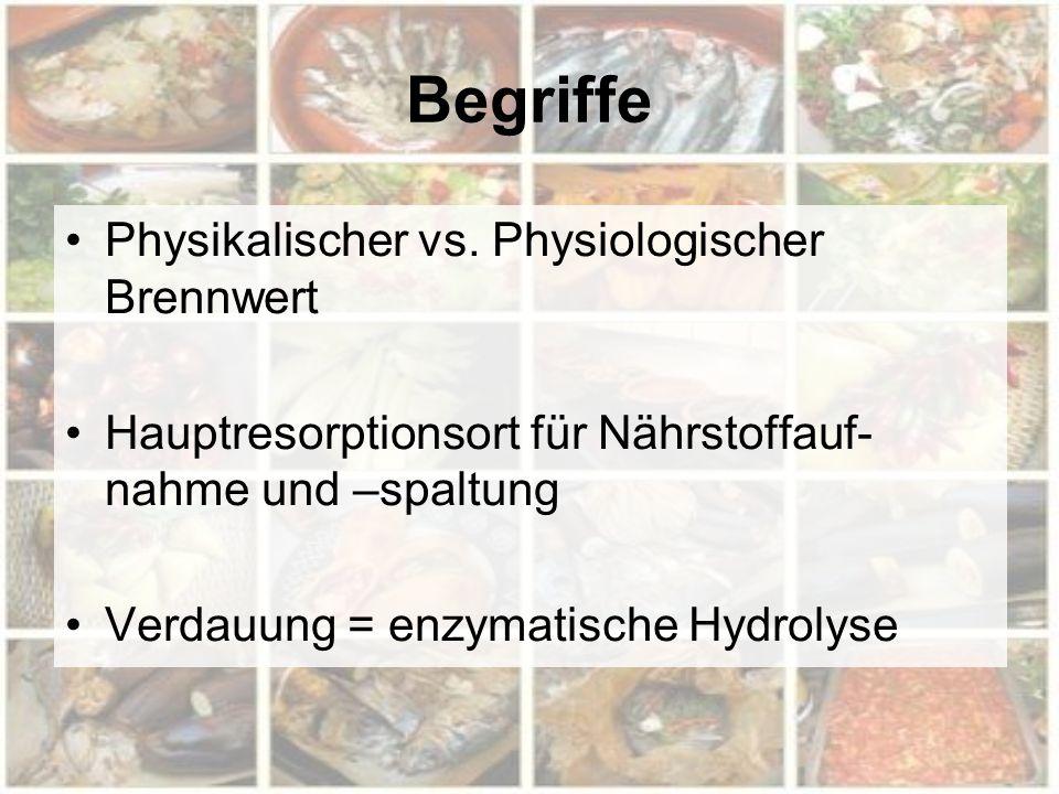Begriffe Physikalischer vs. Physiologischer Brennwert Hauptresorptionsort für Nährstoffauf- nahme und –spaltung Verdauung = enzymatische Hydrolyse