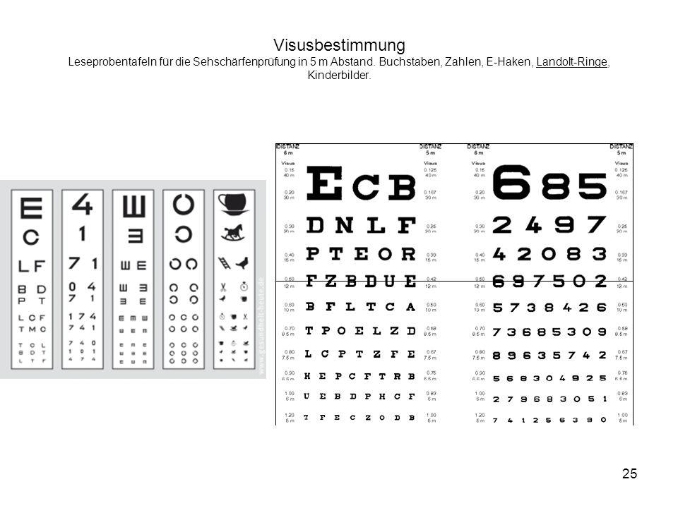 Visusbestimmung Leseprobentafeln für die Sehschärfenprüfung in 5 m Abstand. Buchstaben, Zahlen, E-Haken, Landolt-Ringe, Kinderbilder. 25