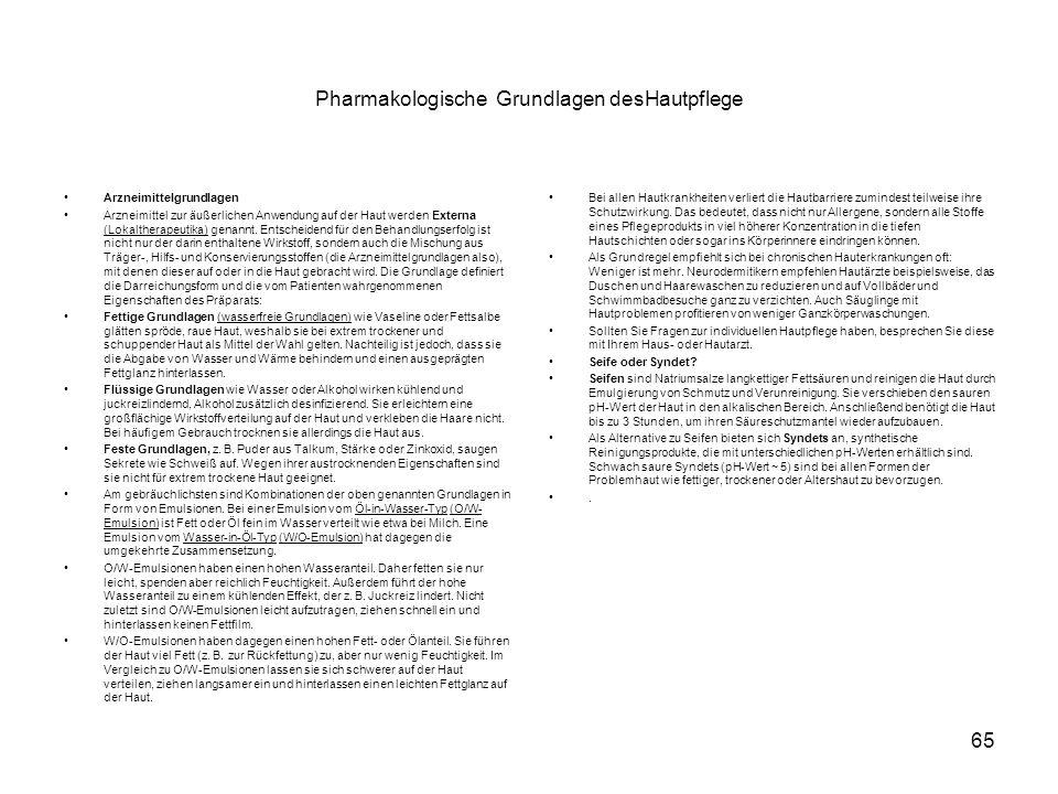 Pharmakologische Grundlagen desHautpflege Arzneimittelgrundlagen Arzneimittel zur äußerlichen Anwendung auf der Haut werden Externa (Lokaltherapeutika