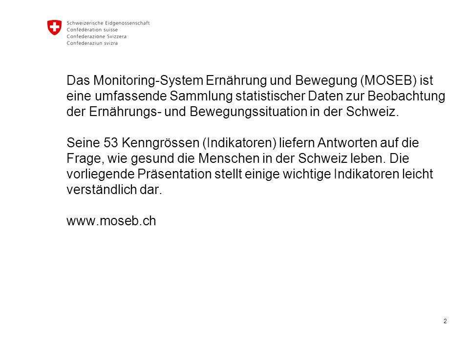 2 Das Monitoring-System Ernährung und Bewegung (MOSEB) ist eine umfassende Sammlung statistischer Daten zur Beobachtung der Ernährungs- und Bewegungssituation in der Schweiz.