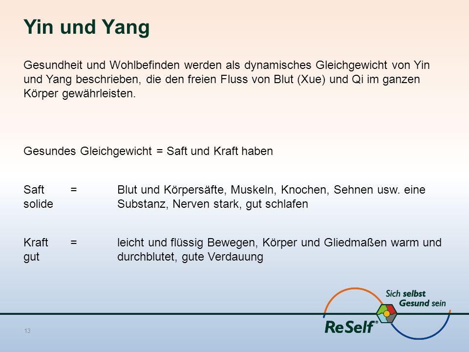 Yin und Yang Gesundheit und Wohlbefinden werden als dynamisches Gleichgewicht von Yin und Yang beschrieben, die den freien Fluss von Blut (Xue) und Qi im ganzen Körper gewährleisten.