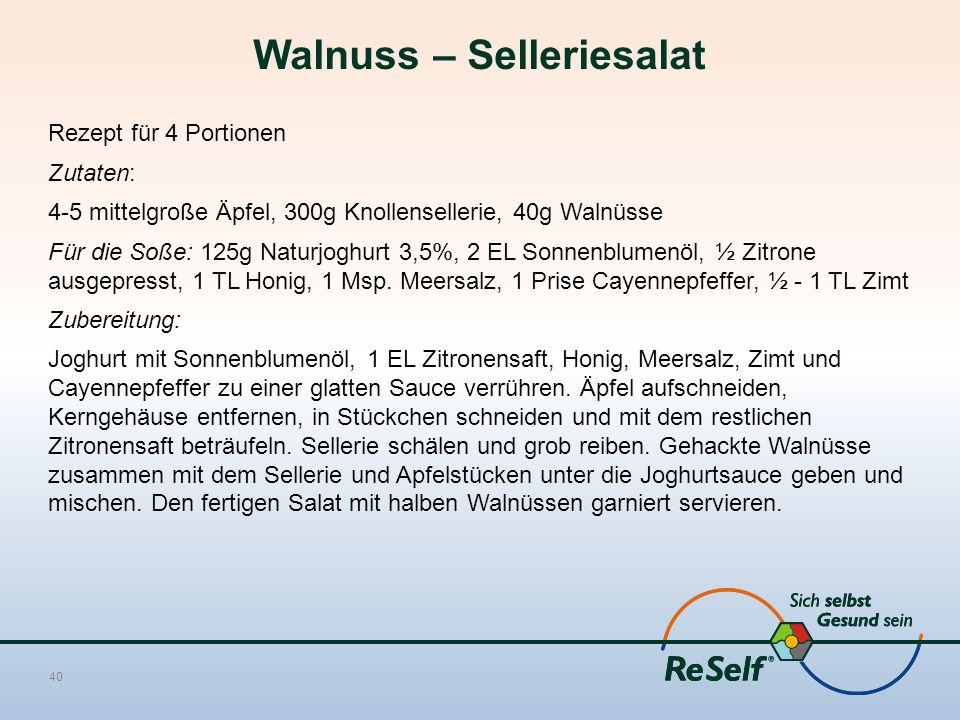 Walnuss – Selleriesalat Rezept für 4 Portionen Zutaten: 4-5 mittelgroße Äpfel, 300g Knollensellerie, 40g Walnüsse Für die Soße: 125g Naturjoghurt 3,5%, 2 EL Sonnenblumenöl, ½ Zitrone ausgepresst, 1 TL Honig, 1 Msp.