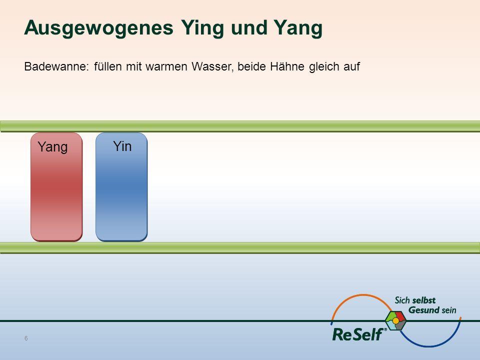 Ausgewogenes Ying und Yang Badewanne: füllen mit warmen Wasser, beide Hähne gleich auf 6 Yang Yin