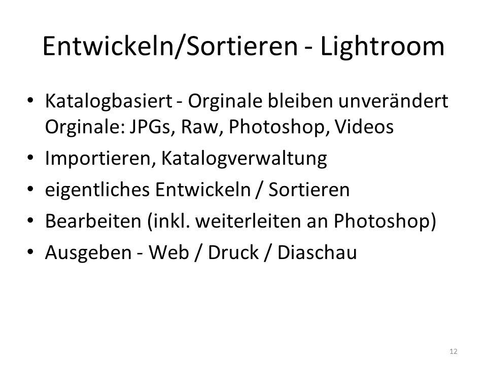 12 Entwickeln/Sortieren - Lightroom Katalogbasiert - Orginale bleiben unverändert Orginale: JPGs, Raw, Photoshop, Videos Importieren, Katalogverwaltung eigentliches Entwickeln / Sortieren Bearbeiten (inkl.