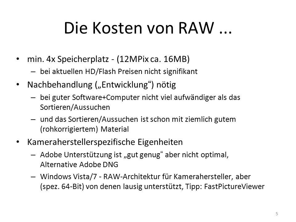 5 Die Kosten von RAW...min. 4x Speicherplatz - (12MPix ca.