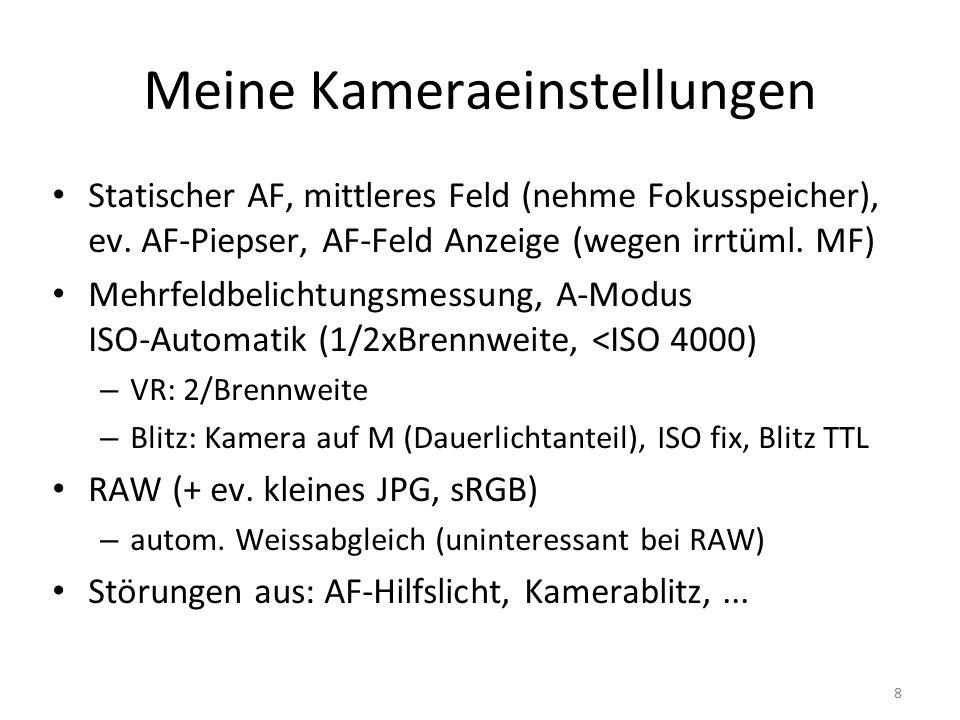 9 VOR dem Fotografieren Speicherkarten formatiert, Akkus geladen Objektive/Sucher einigermassen sauber Kontrolle Sensorschmutz (+3EV, weiss, f8) Alle Einstellungen zurücksetzen/kontrollieren – Belichtungskorr., RAW, Blende, ISO, AF KONZEPT/Idee haben Extras einpacken - Regenschutz, 1.Hilfe,...