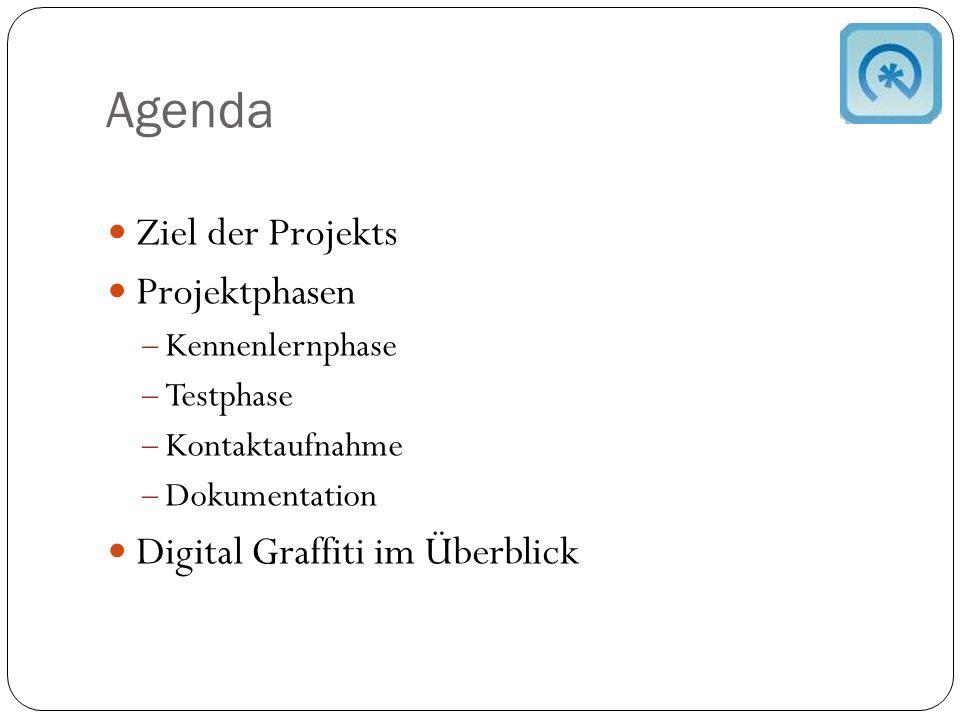 Agenda Ziel der Projekts Projektphasen  Kennenlernphase  Testphase  Kontaktaufnahme  Dokumentation Digital Graffiti im Überblick