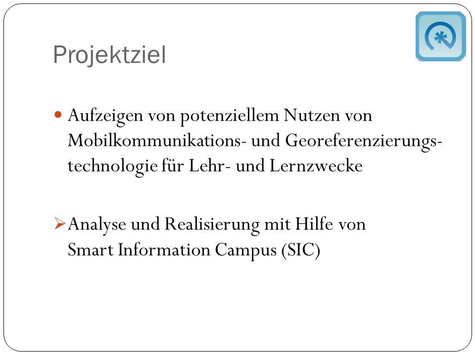Projektziel Aufzeigen von potenziellem Nutzen von Mobilkommunikations- und Georeferenzierungs- technologie für Lehr- und Lernzwecke  Analyse und Realisierung mit Hilfe von Smart Information Campus (SIC)