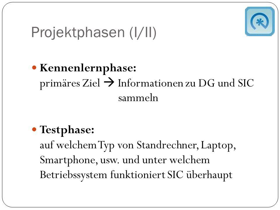 Projektphasen (I/II) Kennenlernphase: primäres Ziel  Informationen zu DG und SIC sammeln Testphase: auf welchem Typ von Standrechner, Laptop, Smartphone, usw.