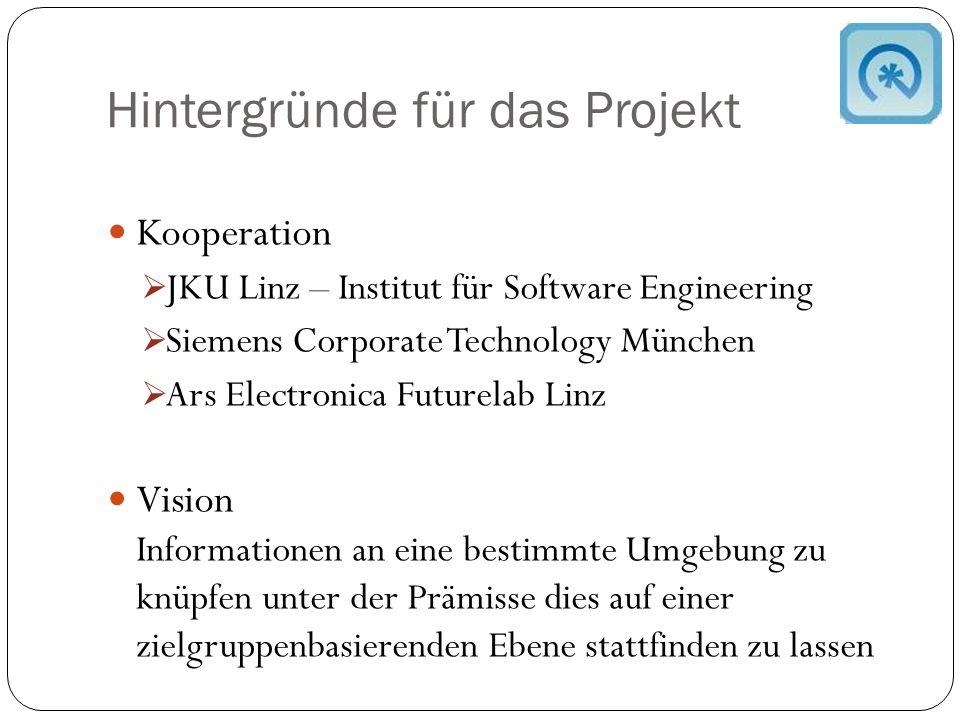 Hintergründe für das Projekt Kooperation  JKU Linz – Institut für Software Engineering  Siemens Corporate Technology München  Ars Electronica Futurelab Linz Vision Informationen an eine bestimmte Umgebung zu knüpfen unter der Prämisse dies auf einer zielgruppenbasierenden Ebene stattfinden zu lassen