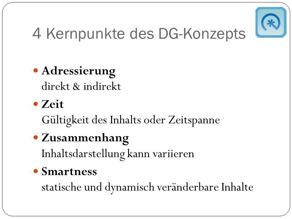 4 Kernpunkte des DG-Konzepts Adressierung direkt & indirekt Zeit Gültigkeit des Inhalts oder Zeitspanne Zusammenhang Inhaltsdarstellung kann variieren Smartness statische und dynamisch veränderbare Inhalte