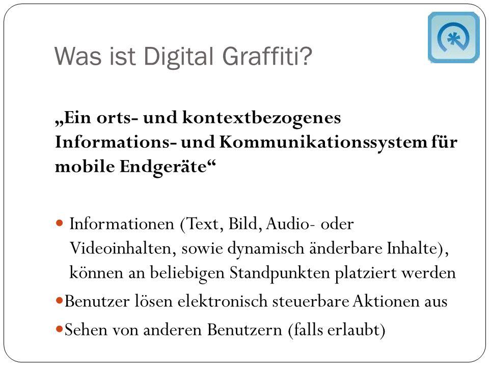 Funktionsweise eines DG Jedermann soll zu jeder Zeit an jedem Ort Digital Graffiti erstellen und ansehen können Aufbau  Ort  Titel  Inhalt  Sichtbarkeitsradius  Adressatenkreis