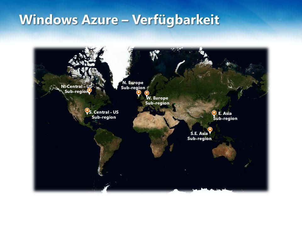 Windows Azure – Verfügbarkeit N. Central – US Sub-region W.