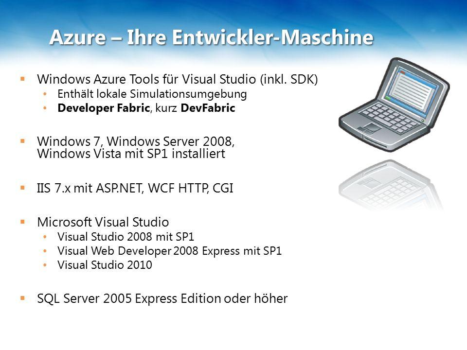 Azure – Ihre Entwickler-Maschine  Windows Azure Tools für Visual Studio (inkl.