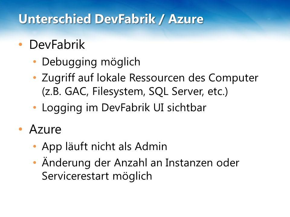 Unterschied DevFabrik / Azure DevFabrik Debugging möglich Zugriff auf lokale Ressourcen des Computer (z.B.