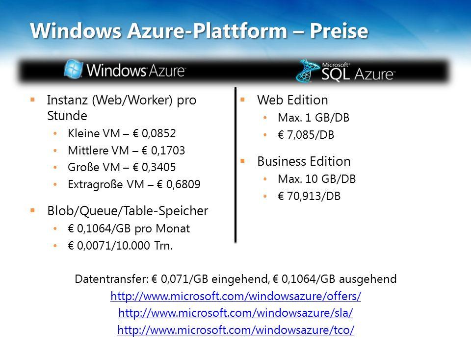 Windows Azure-Plattform – Preise  Instanz (Web/Worker) pro Stunde Kleine VM – € 0,0852 Mittlere VM – € 0,1703 Große VM – € 0,3405 Extragroße VM – € 0,6809  Blob/Queue/Table-Speicher € 0,1064/GB pro Monat € 0,0071/10.000 Trn.