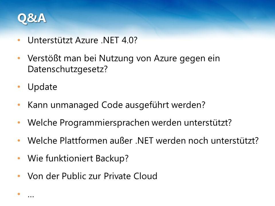Q&A Unterstützt Azure.NET 4.0. Verstößt man bei Nutzung von Azure gegen ein Datenschutzgesetz.