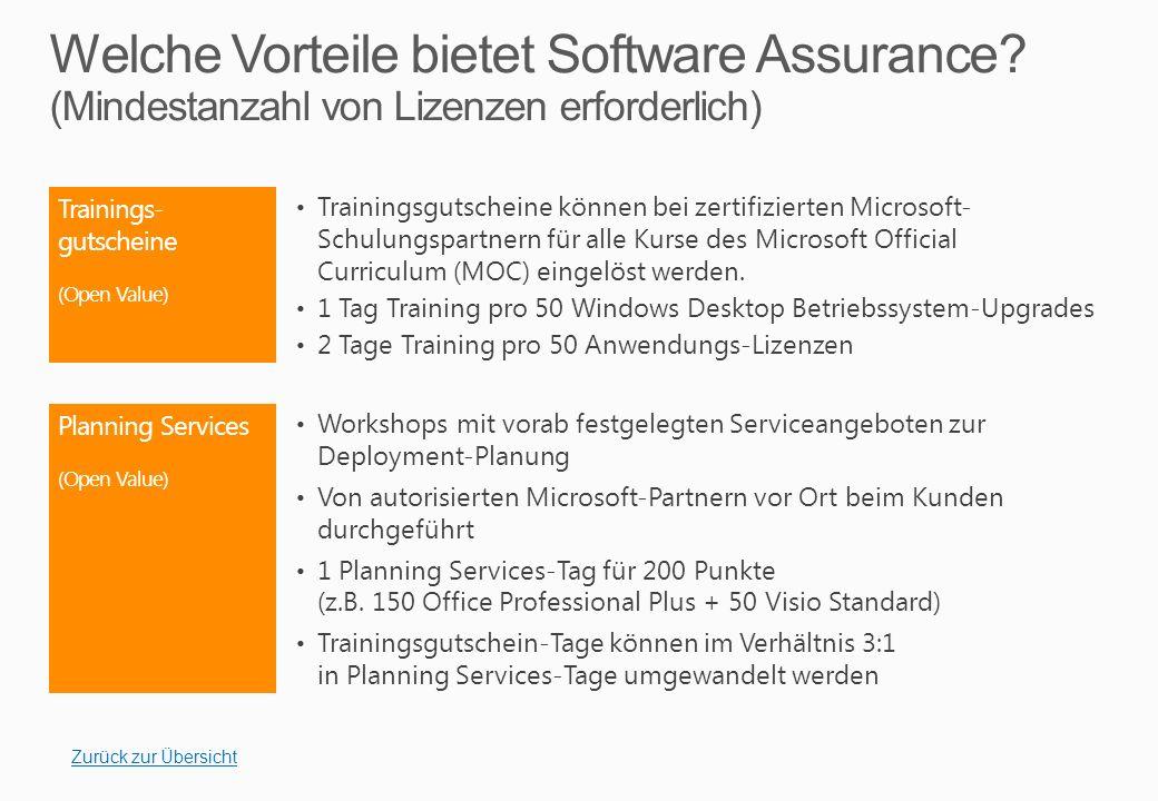 Trainings- gutscheine (Open Value) Trainingsgutscheine können bei zertifizierten Microsoft- Schulungspartnern für alle Kurse des Microsoft Official Curriculum (MOC) eingelöst werden.