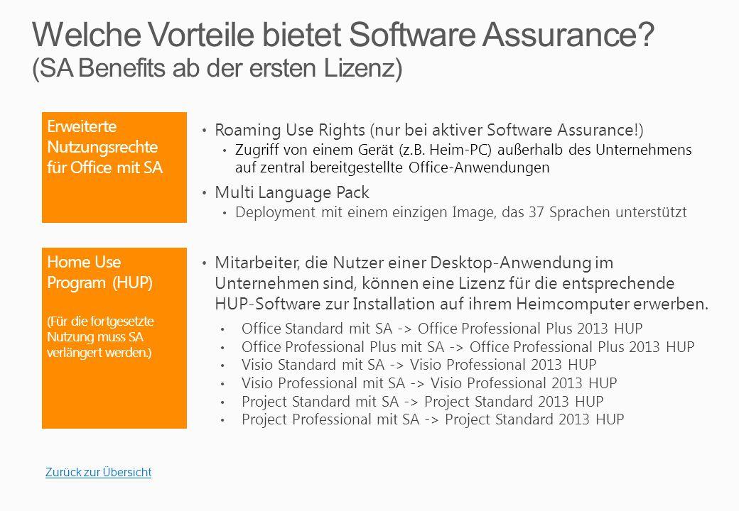 Windows 8 Enterprise (Für die fortgesetzte Nutzung der zusätzlichen Nutzungsrechte muss Software Assurance verlängert werden.)