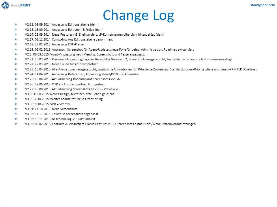 Change Log V2.11: 09.09.2014: Anpassung Editionstabelle (dem) V2.13: 16.09.2014: Anpassung Editionen & Preise (dem) V2.14: 26.09.2014: Neue Features (v5.1) einsortiert.