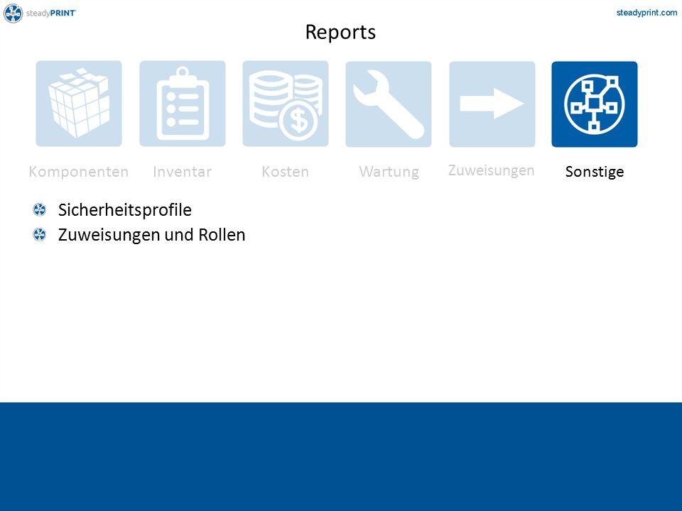 Komponenten InventarKostenWartung Zuweisungen Sonstige Sicherheitsprofile Zuweisungen und Rollen Reports