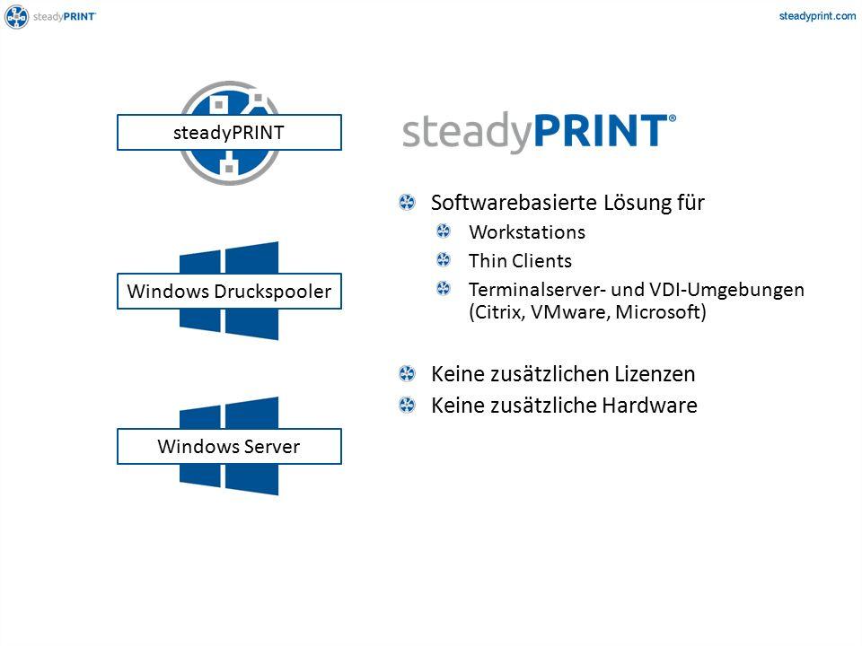 Softwarebasierte Lösung für Workstations Thin Clients Terminalserver- und VDI-Umgebungen (Citrix, VMware, Microsoft) Keine zusätzlichen Lizenzen Keine zusätzliche Hardware Windows Server Windows Druckspooler steadyPRINT
