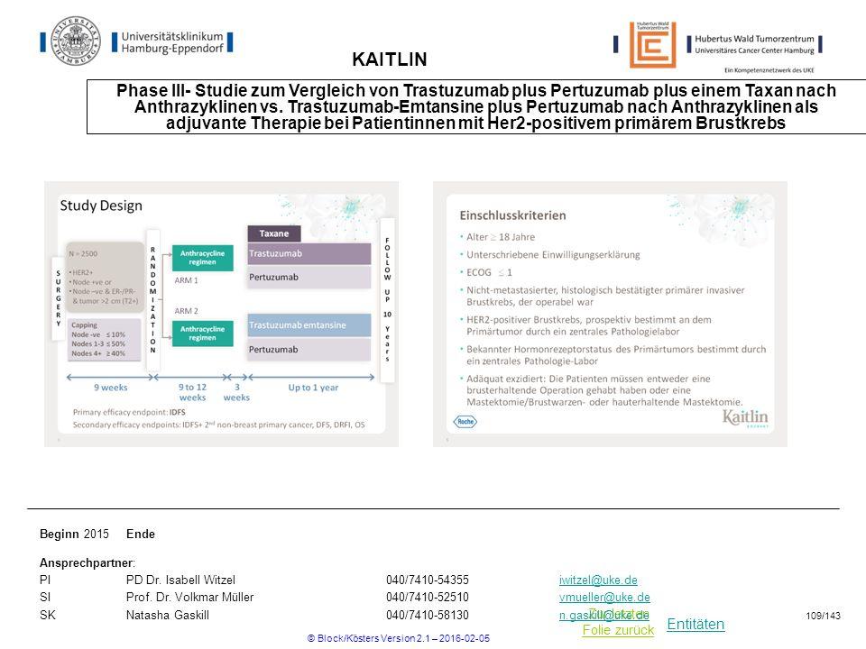 Entitäten Zur letzten Folie zurück KAITLIN Phase III- Studie zum Vergleich von Trastuzumab plus Pertuzumab plus einem Taxan nach Anthrazyklinen vs. Tr