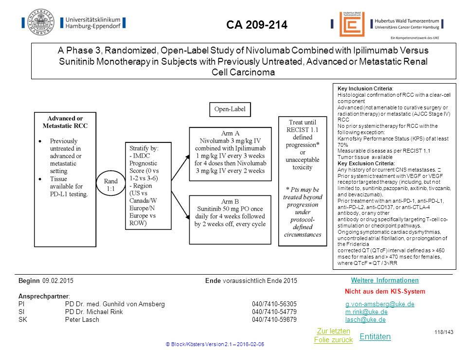 Entitäten Zur letzten Folie zurück CA 209-214 Key Inclusion Criteria: Histological confirmation of RCC with a clear-cell component Advanced (not amena