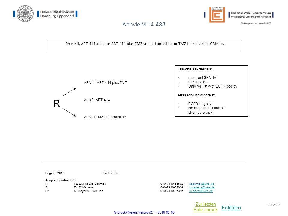 Entitäten Zur letzten Folie zurück Abbvie M 14-483 Phase II, ABT-414 alone or ABT-414 plus TMZ versus Lomustine or TMZ for recurrent GBM IV. R ARM 3:T