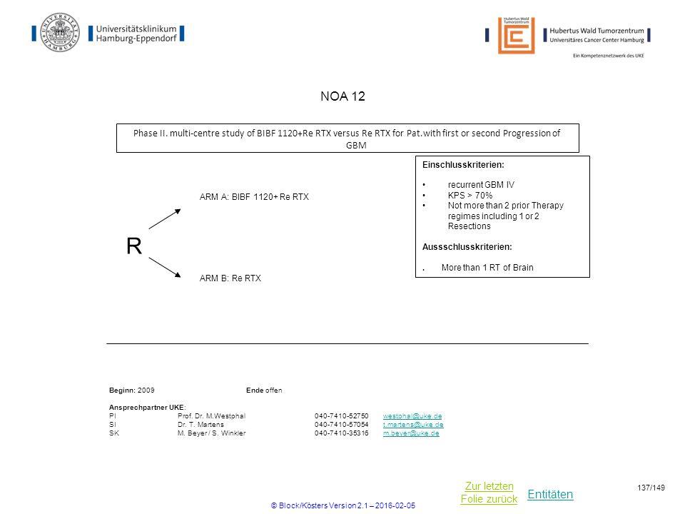 Entitäten Zur letzten Folie zurück NOA 12 Phase II. multi-centre study of BIBF 1120+Re RTX versus Re RTX for Pat.with first or second Progression of G