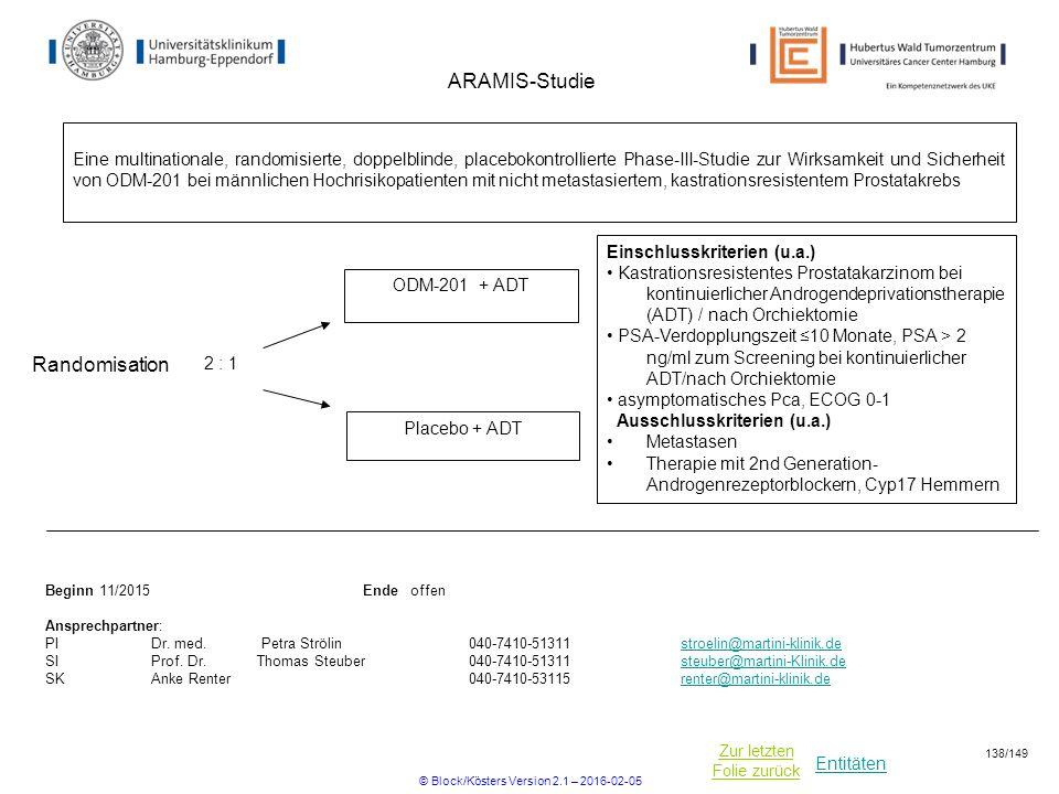Entitäten Zur letzten Folie zurück Einschlusskriterien (u.a.) Kastrationsresistentes Prostatakarzinom bei kontinuierlicher Androgendeprivationstherapi