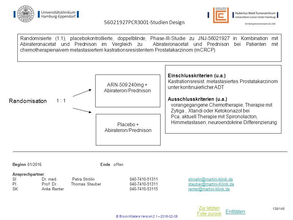 Entitäten Zur letzten Folie zurück Einschlusskriterien (u.a.) Kastrationsresist. metastasiertes Prostatakarzinom unter kontinuierlicher ADT Ausschluss