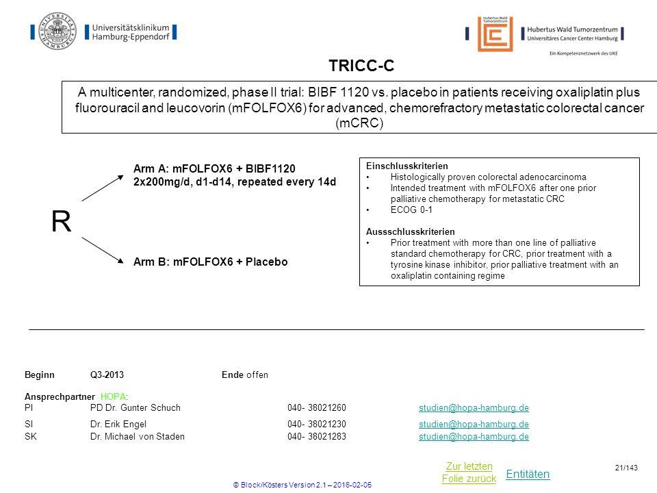 Entitäten Zur letzten Folie zurück TRICC-C A multicenter, randomized, phase II trial: BIBF 1120 vs. placebo in patients receiving oxaliplatin plus flu