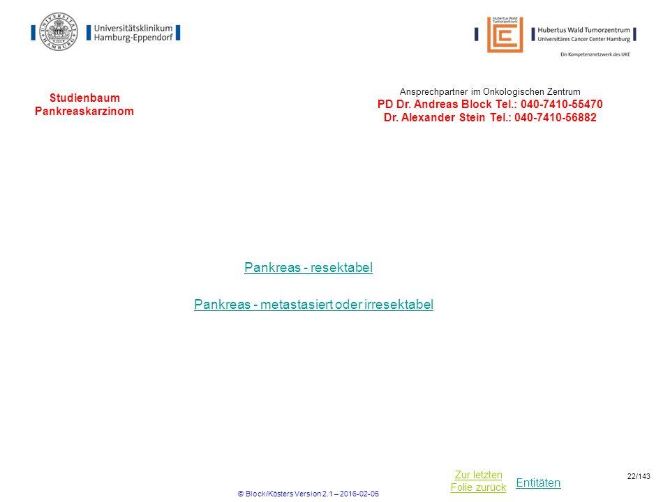 Entitäten Zur letzten Folie zurück Studienbaum Pankreaskarzinom Pankreas - resektabel Pankreas - metastasiert oder irresektabel Ansprechpartner im Onk