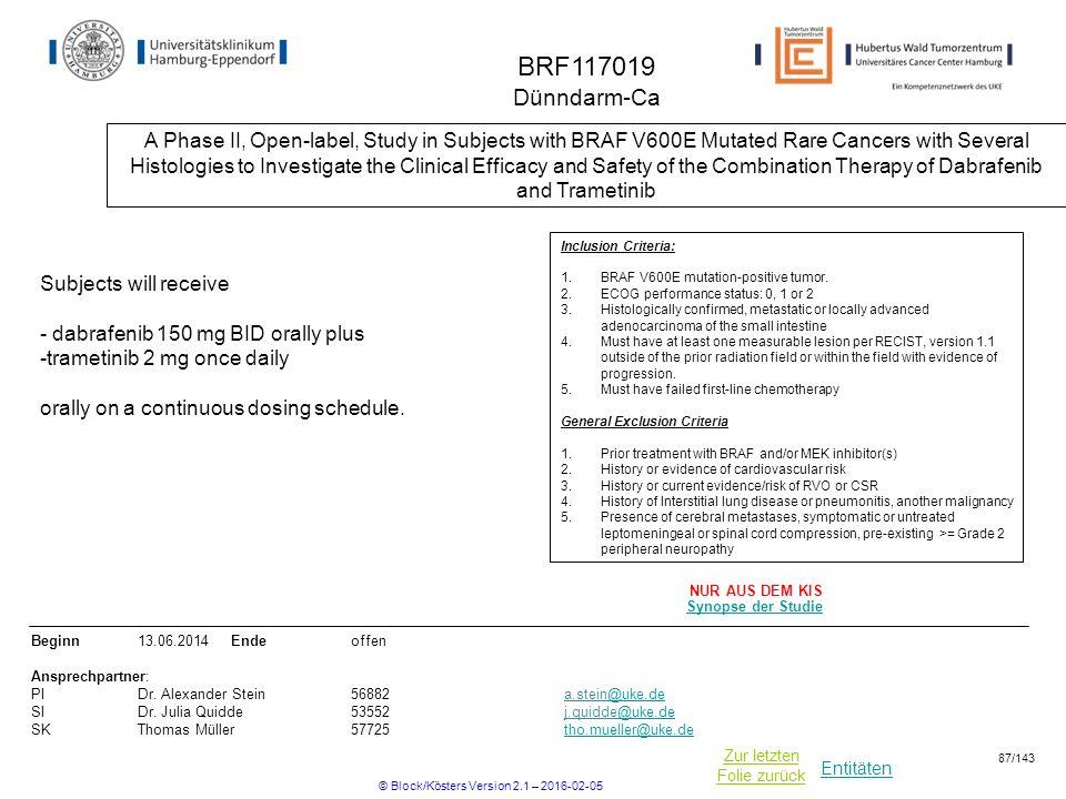Entitäten Zur letzten Folie zurück BRF117019 Dünndarm-Ca A Phase II, Open-label, Study in Subjects with BRAF V600E Mutated Rare Cancers with Several H