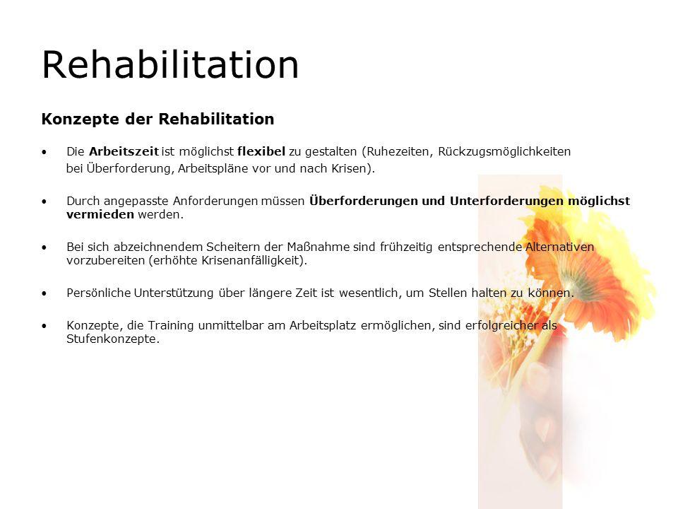 Rehabilitation Konzepte der Rehabilitation Die Arbeitszeit ist möglichst flexibel zu gestalten (Ruhezeiten, Rückzugsmöglichkeiten bei Überforderung, Arbeitspläne vor und nach Krisen).