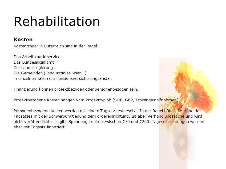 Rehabilitation Kosten Kostenträger in Österreich sind in der Regel: Das Arbeitsmarktservice Das Bundessozialamt Die Landesregierung Die Gemeinden (Fon