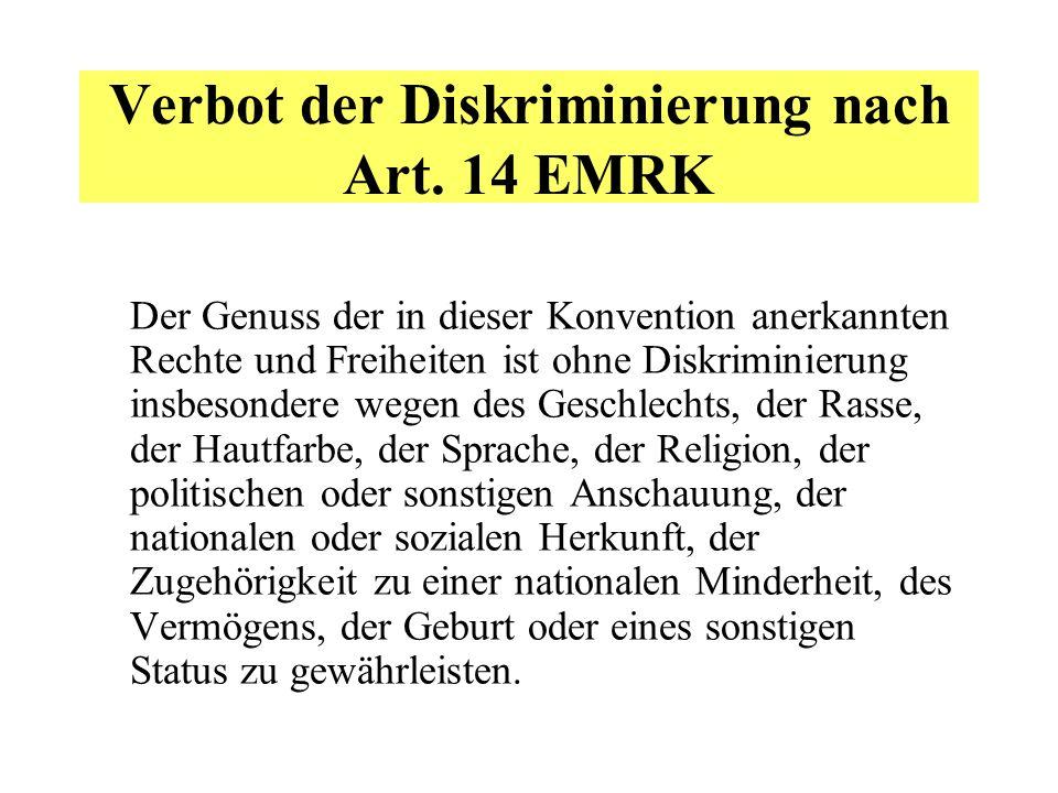 Verbot der Diskriminierung nach Art.
