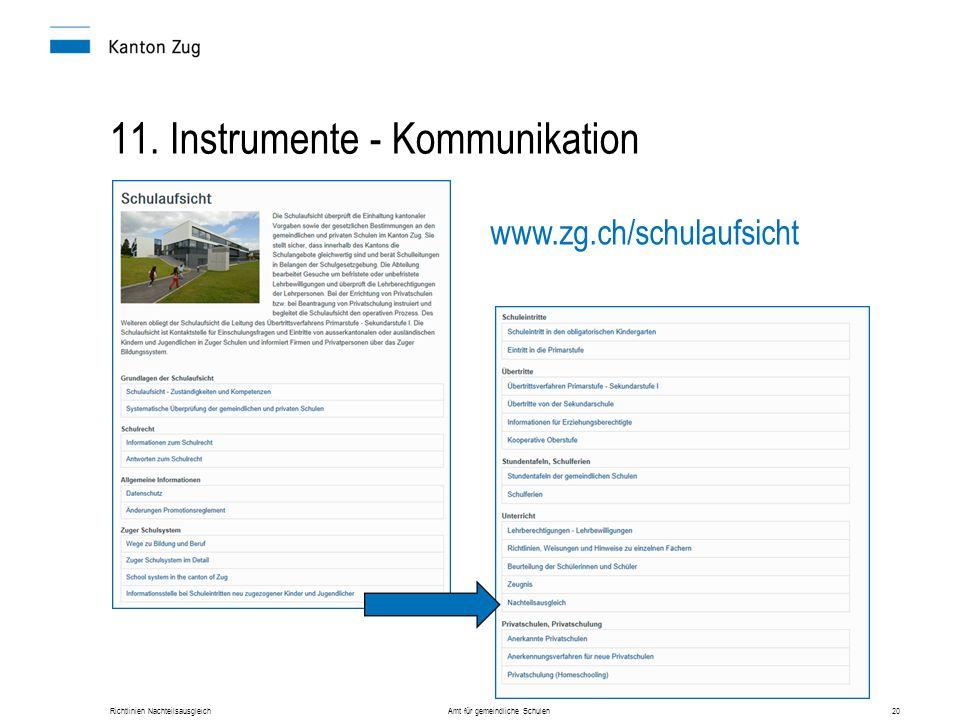 Richtlinien Nachteilsausgleich Amt für gemeindliche Schulen20 11. Instrumente - Kommunikation www.zg.ch/schulaufsicht