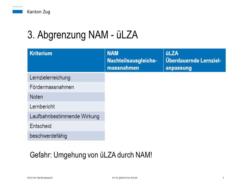 Richtlinien Nachteilsausgleich Amt für gemeindliche Schulen6 3. Abgrenzung NAM - üLZA KriteriumNAM Nachteilsausgleichs- massnahmen üLZA Überdauernde L