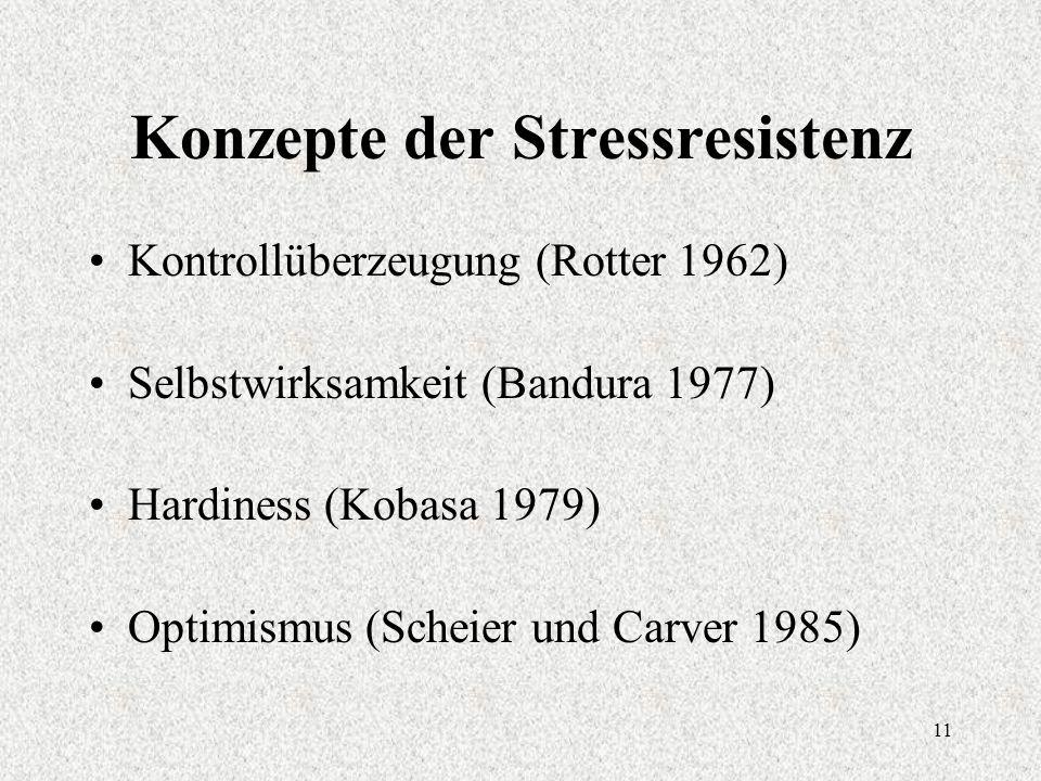 11 Konzepte der Stressresistenz Kontrollüberzeugung (Rotter 1962) Selbstwirksamkeit (Bandura 1977) Hardiness (Kobasa 1979) Optimismus (Scheier und Carver 1985)