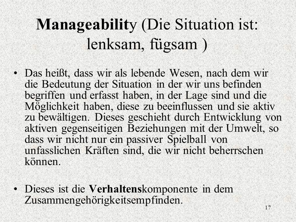 17 Manageability (Die Situation ist: lenksam, fügsam ) Das heißt, dass wir als lebende Wesen, nach dem wir die Bedeutung der Situation in der wir uns befinden begriffen und erfasst haben, in der Lage sind und die Möglichkeit haben, diese zu beeinflussen und sie aktiv zu bewältigen.